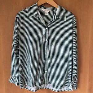 Vertical Green Striped Silk Button Up Shirt, 90s